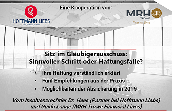 Gläubigerausschuss - Guido Lange referiert zu Haftung & Versicherbarkeit
