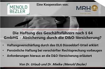 Haftung und Insolvenz, durch die D&O Versicherung