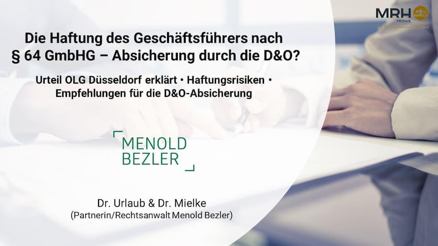 Geschäftsführerhaftung Paragraph 64 GmbH keine D&O-Versicherung